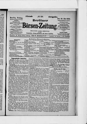 Berliner Börsen-Zeitung vom 10.05.1889