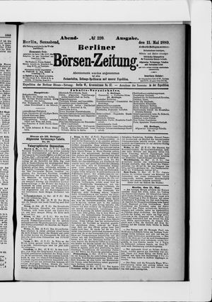 Berliner Börsen-Zeitung vom 11.05.1889
