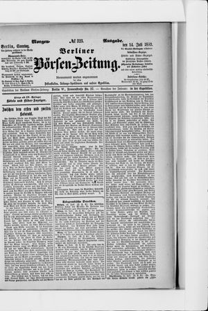 Berliner Börsen-Zeitung vom 14.07.1889