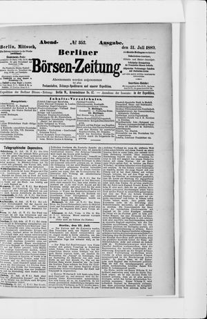 Berliner Börsen-Zeitung vom 31.07.1889