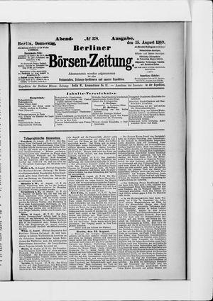 Berliner Börsen-Zeitung vom 15.08.1889