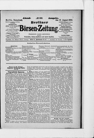Berliner Börsen-Zeitung vom 17.08.1889