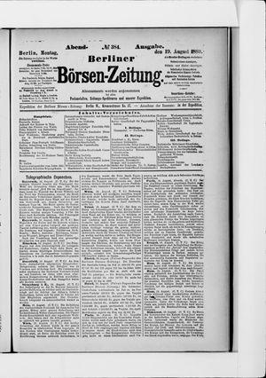 Berliner Börsen-Zeitung vom 19.08.1889