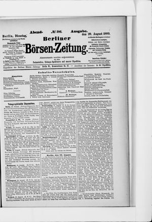 Berliner Börsen-Zeitung vom 20.08.1889