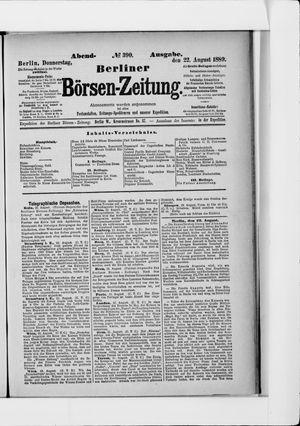 Berliner Börsen-Zeitung vom 22.08.1889