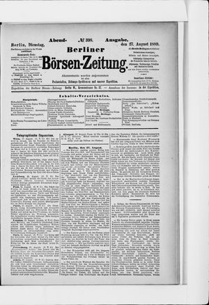 Berliner Börsen-Zeitung vom 27.08.1889