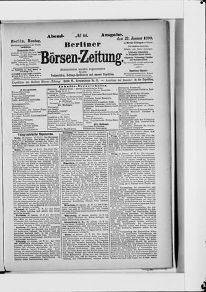 Berliner Börsen-Zeitung vom 27.01.1890