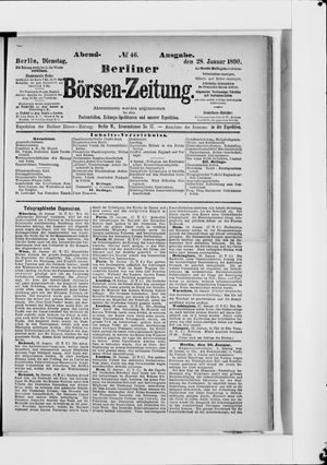 Berliner Börsen-Zeitung vom 28.01.1890