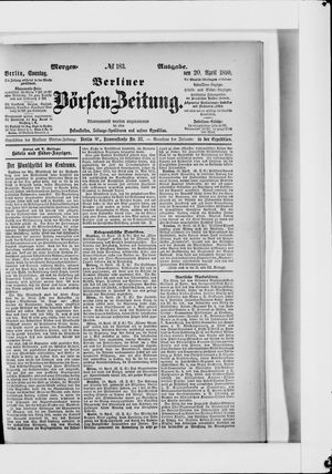 Berliner Börsen-Zeitung vom 20.04.1890