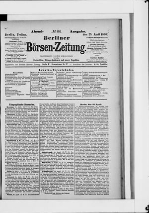 Berliner Börsen-Zeitung vom 25.04.1890