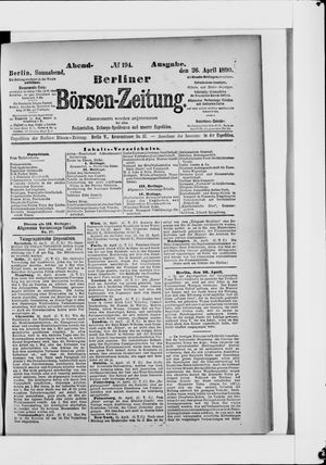 Berliner Börsen-Zeitung vom 26.04.1890