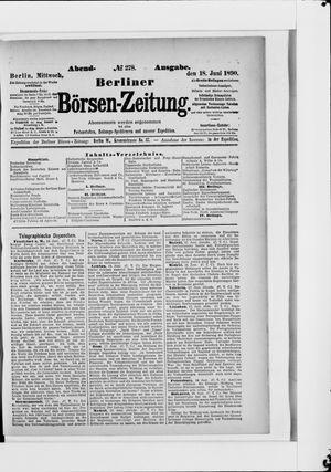 Berliner Börsen-Zeitung vom 18.06.1890