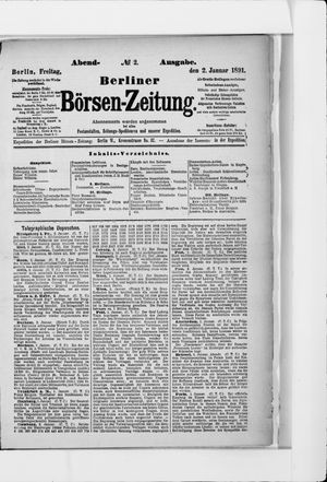Berliner Börsen-Zeitung vom 02.01.1891