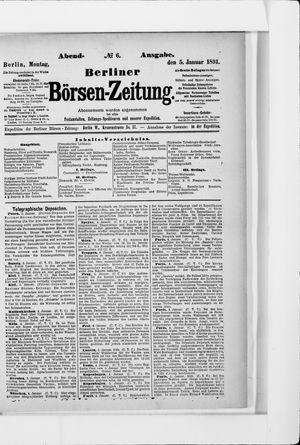 Berliner Börsen-Zeitung vom 05.01.1891