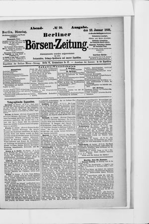 Berliner Börsen-Zeitung vom 13.01.1891