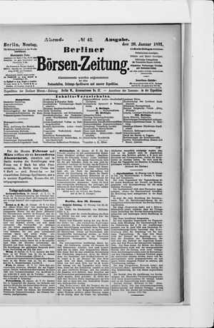 Berliner Börsen-Zeitung vom 26.01.1891