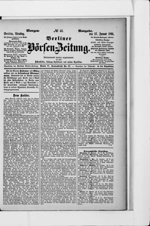 Berliner Börsen-Zeitung vom 27.01.1891