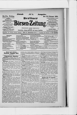 Berliner Börsen-Zeitung vom 13.02.1891