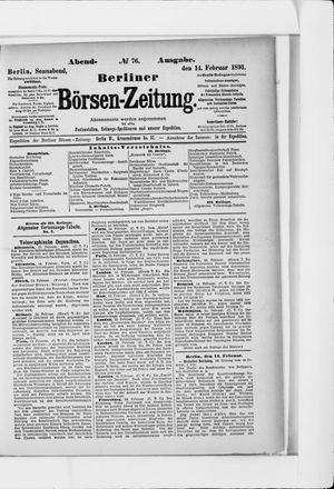 Berliner Börsen-Zeitung vom 14.02.1891