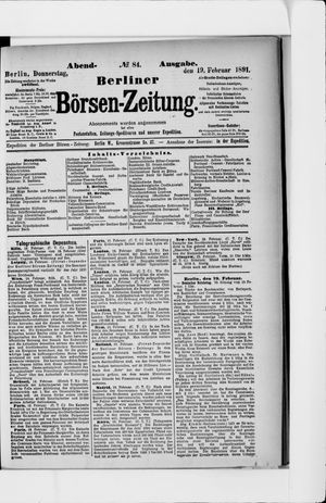 Berliner Börsen-Zeitung vom 19.02.1891
