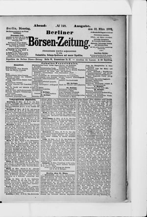 Berliner Börsen-Zeitung vom 31.03.1891