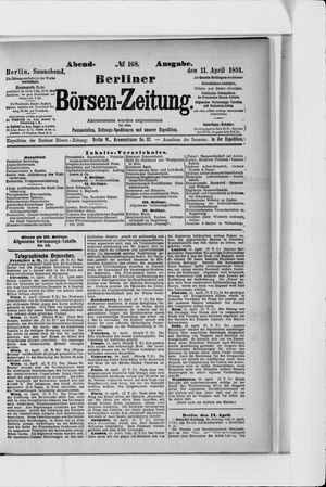 Berliner Börsen-Zeitung vom 11.04.1891