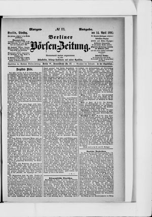 Berliner Börsen-Zeitung vom 14.04.1891