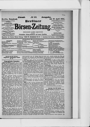 Berliner Börsen-Zeitung vom 18.04.1891
