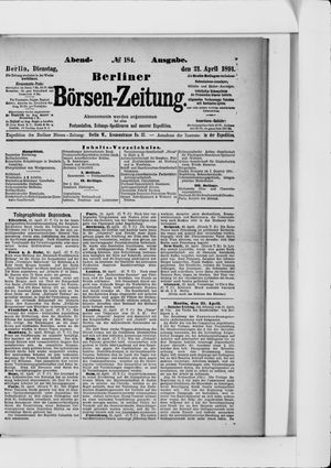 Berliner Börsen-Zeitung vom 21.04.1891