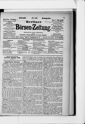 Berliner Börsen-Zeitung vom 01.05.1891