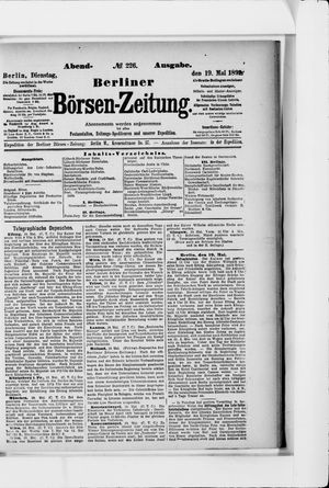 Berliner Börsen-Zeitung vom 19.05.1891