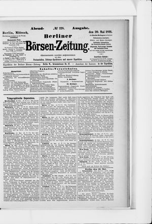Berliner Börsen-Zeitung vom 20.05.1891
