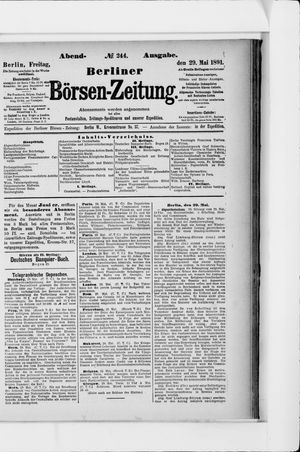 Berliner Börsen-Zeitung vom 29.05.1891