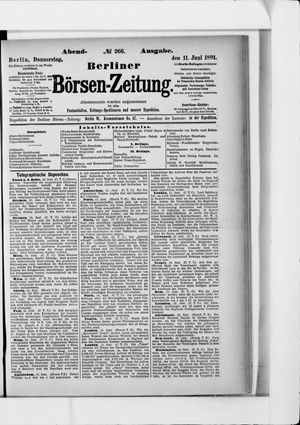 Berliner Börsen-Zeitung vom 11.06.1891