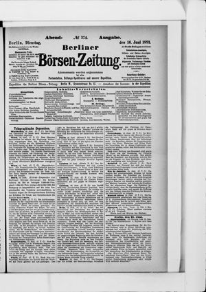 Berliner Börsen-Zeitung vom 16.06.1891