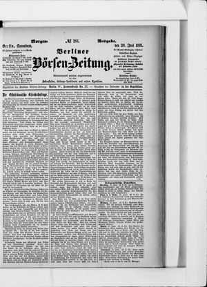 Berliner Börsen-Zeitung vom 20.06.1891