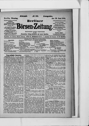 Berliner Börsen-Zeitung vom 30.06.1891
