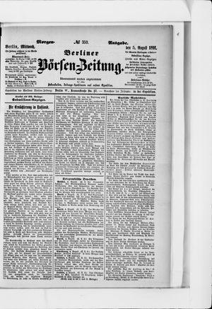 Berliner Börsen-Zeitung vom 05.08.1891