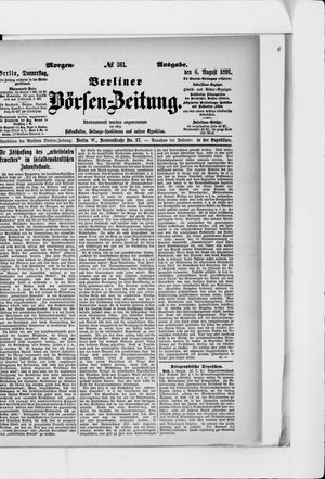 Berliner Börsen-Zeitung vom 06.08.1891