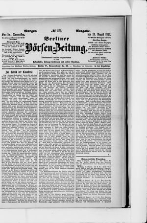 Berliner Börsen-Zeitung vom 13.08.1891