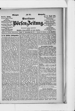 Berliner Börsen-Zeitung vom 14.08.1891