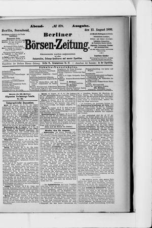Berliner Börsen-Zeitung vom 15.08.1891