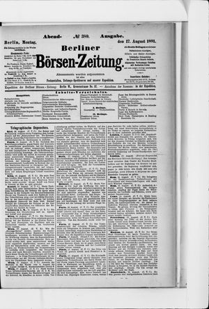 Berliner Börsen-Zeitung vom 17.08.1891