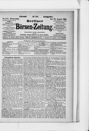 Berliner Börsen-Zeitung vom 20.08.1891