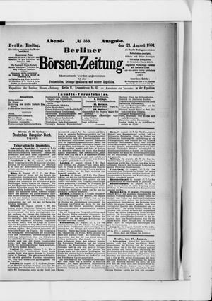 Berliner Börsen-Zeitung vom 21.08.1891