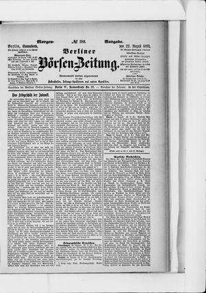 Berliner Börsen-Zeitung vom 22.08.1891