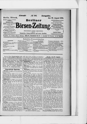 Berliner Börsen-Zeitung on Aug 26, 1891