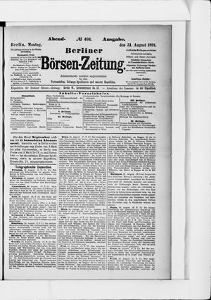 Berliner Börsen-Zeitung vom 31.08.1891