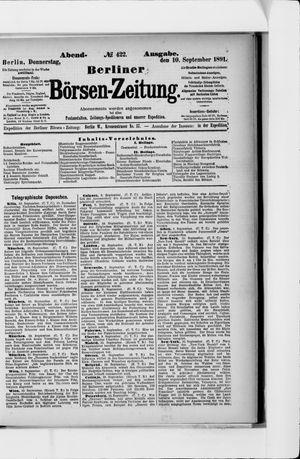 Berliner Börsen-Zeitung vom 10.09.1891