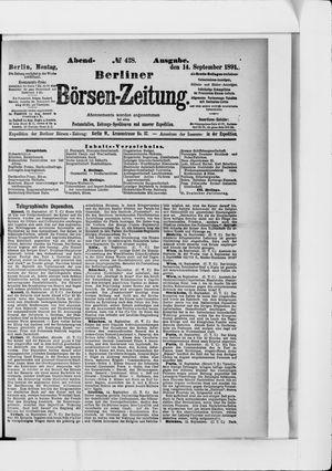 Berliner Börsen-Zeitung on Sep 14, 1891